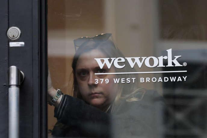 L'entrée d'un espace de coworking de la société WeWork, à New York, le 8 janvier.