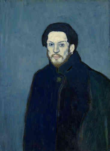 Dans cette exposition d'envergure, la Fondation Beyeler se consacre au jeune Pablo Picasso (1881-1973) et à ses peintures et sculptures des périodes dites bleue et rose de 1901 à 1906. Légende : «Autoportrait» (1901),huile sur toile.