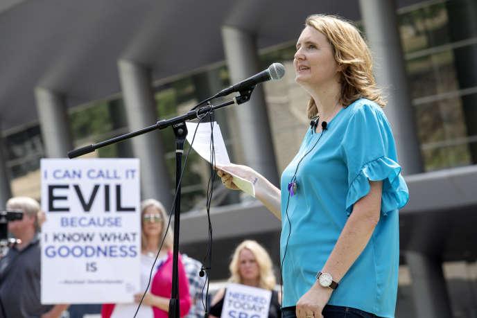 Rassemblement pour dénoncer le traitement des femmes au sein de la Southern Baptist Convention à Dallas (Texas), le 12 juin 2018.