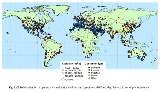 Répartition des installations et des capacités opérationnelles de dessalement (>1000 m3 /jour) dans le monde.