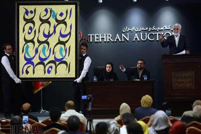 La 10e édition des ventes aux enchères de Téhéran s'est conclue par un nouveau record, avec un volume de 33,4 milliards de tomans (2,6 millions d'euros), en hausse de 10 % par rapport à la précédente édition, six mois plus tôt (en photo).
