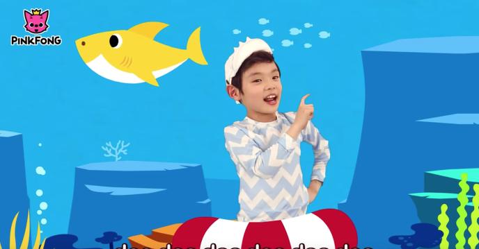 Aperçu de la vidéo colorée et entêtante de«Baby Shark» de Pingfong, qui totalise plus de 2,1 milliards de vue sur Youtube.