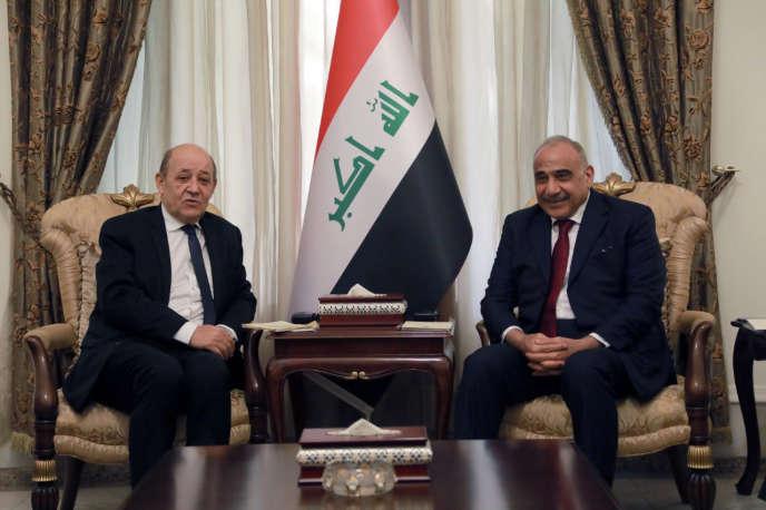 Jean-Yves Le Drian et Adel Abdel-Mehdi à Bagdad, le 14 janvier.