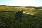 Epandage de glyphosate dans un champ.