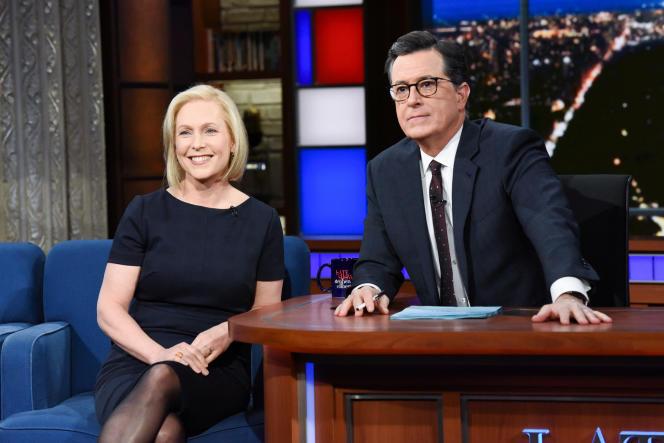 Kirsten Gillibrand, sur le plateau du «Late Show» de Stephen Colbert, le 15 janvier à New York.