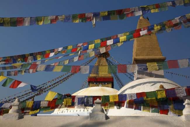 Sanctuaire de Bodnath, dans la vallée de Katmandou, au Népal.