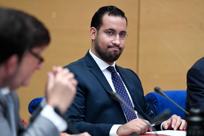 AlexandreBenalla, lors de son audition devant la commission d'enquête du Sénat, à Paris, le 19 septembre 2018.