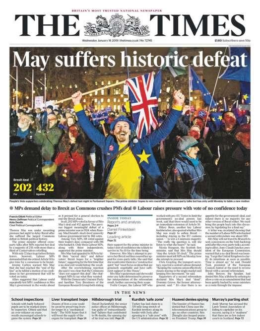 L'«humiliation» de May à la «une» de la presse britannique après le rejet de l'accord du Brexit