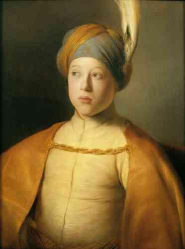 Lara Yeager-Crasselt : «Jan Lievens dresse ici le portrait du prince Rupert du Palatinat (1619-1682) dans des vêtements d'inspiration turque ou persane, notamment un turban orné du panache d'un oiseau de paradis. Ces costumes exotiques ont fasciné les artistes et les publics des Pays-Bas et ont, peut-être, été inspirés par la visite de membres de l'ambassade de Perse à La Haye en 1626.»