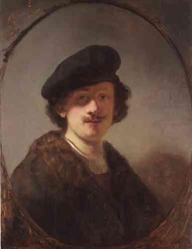 Lara Yeager-Crasselt: «Fasciné par l'expression et le déguisement, Rembrandt explore la pratique de l'autoportrait tout au long de sa carrière. Ici, il fait face au spectateur en lui adressant un regard direct, les yeux obscurcis par l'ombre et vêtu d'un béret démodé et d'une veste en fourrure. De tels costumes fantaisistes ont inspiré les élèves de Rembrandt.»