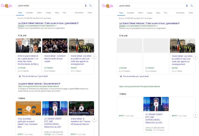 A gauche, la version« normale» de Google, lorsque l'on cherche le mot clé« grand débat». A droite, une version que teste Google auprès de certains utilisateurs.
