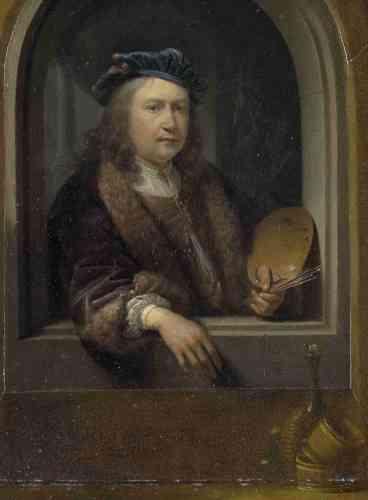 Blaise Ducos : «Cet autoportrait aux pinceaux, d'une extrême finesse, atteste l'exactitude presque obsessionnelle de l'artiste. Sa main adopte une attitude faussement nonchalante: créatrice, elle est vraiment le sujet du tableau. Gérard Dou se montre ici comme accoudé à une fenêtre, suivant un procédé utilisé aussi par Rembrandt, son maître.»