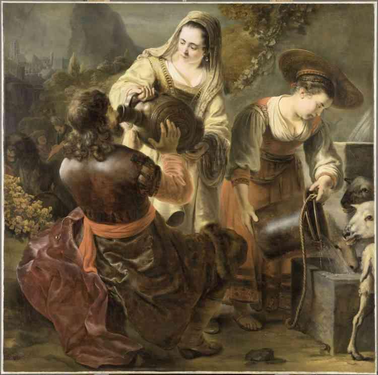 Blaise Ducos : «Ce tableau est l'un des grands chefs-d'œuvre d'un des plus brillants élèves de Rembrandt, Ferdinand Bol. Le peintre s'inspire d'un récit de la Bible, plus précisément de l'Ancien Testament. Eliézer‒ que l'on voit agenouillé à gauche‒ est le serviteur d'Abraham. Son maître l'a envoyé en Mésopotamie chercher une épouse pour son fils Isaac. Parvenu aux portes de la ville, il croise plusieurs jeunes filles qui viennent chercher de l'eau au puits. Celle qui lui offrira à boire sera celle que Dieu aura choisie pour Isaac.»