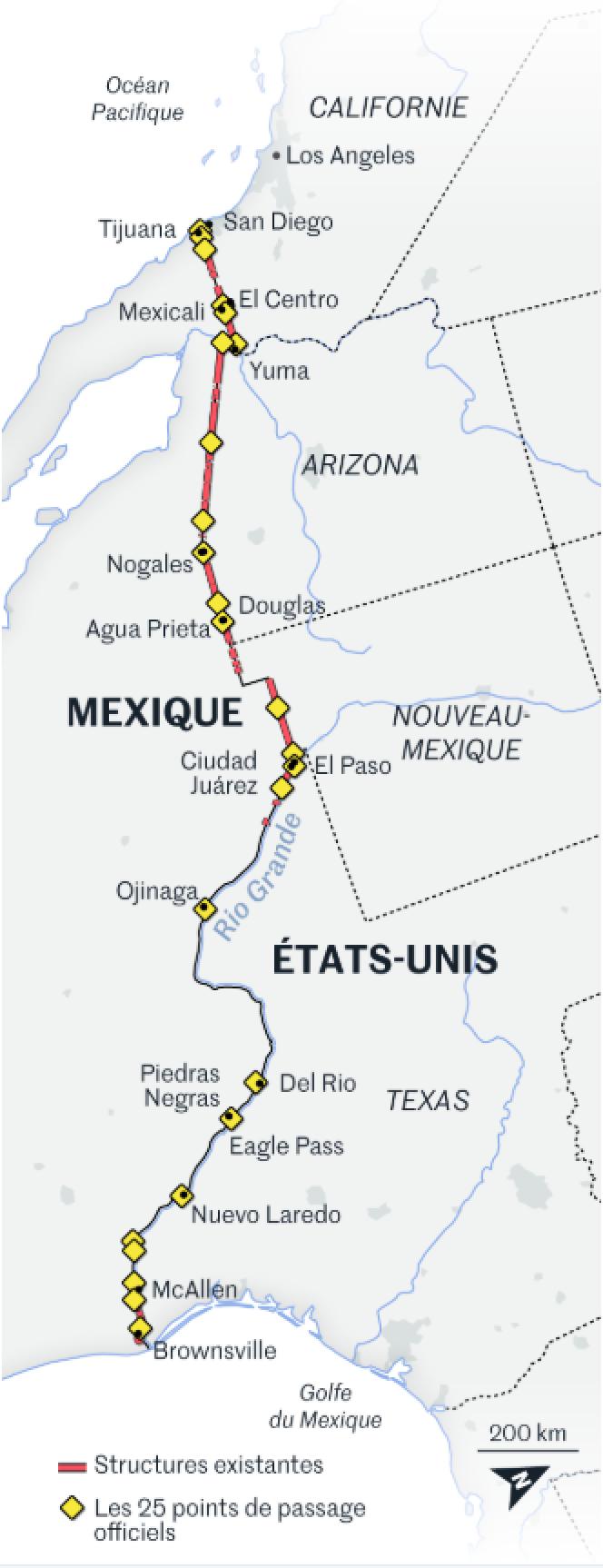 L'ouest de la frontière entre les Etats-Unis et le Mexique comporte déjà plus de 1 000 kilomètres de barrière.