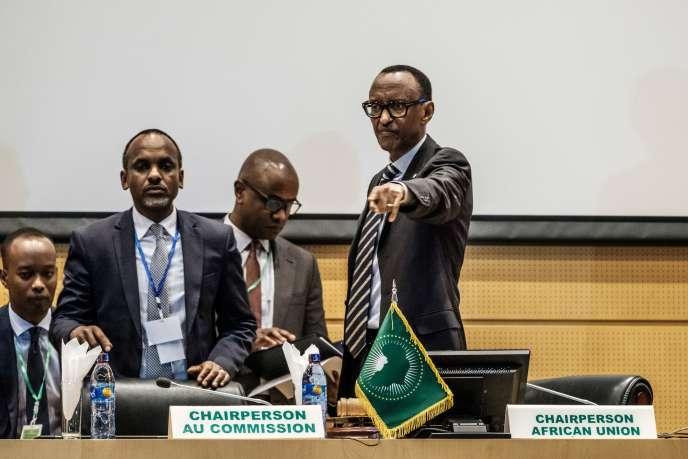 Le président rwandais Paul Kagame, président en exercice de l'UA, lors d'une réunion au siège de l'organisation, le 17 janvier.