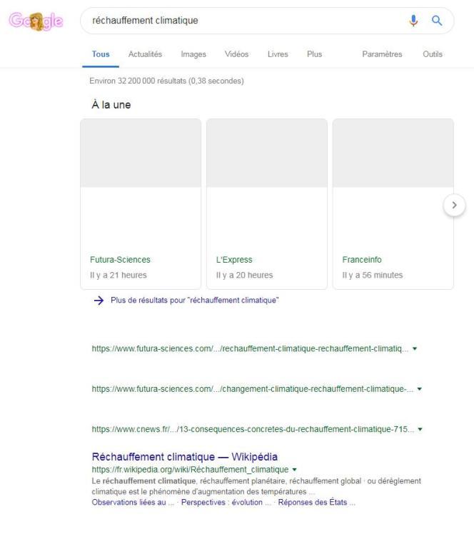 Dans cette capture d'écran, effectuée par« Le Monde», les titres et photos des articles de presse référencés sur Google sont supprimés, remplacés par des espaces vides. Une« expérience», selon le moteur de recherche.