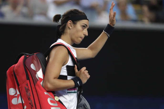 Caroline Garcia après son élimination à l'Open d'Australie, le 18 janvier.