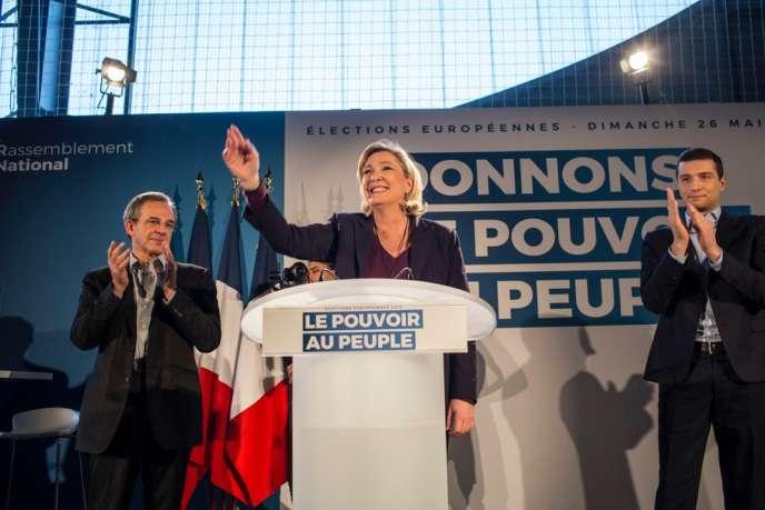 La présidente du Rassemblement national, Marine Le Pen, lors de son meeting pour les élections européennes, à Thor(Vaucluse), le 19 janvier.