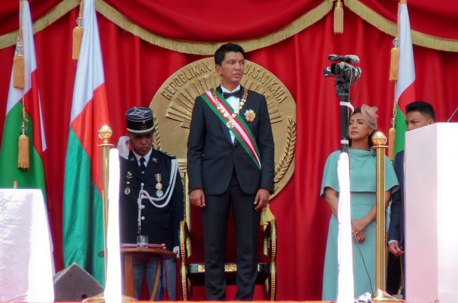 Le nouveau président malgache Andry Rajoelina lors de son investiture à Antananarivo le 19 janvier 2019.