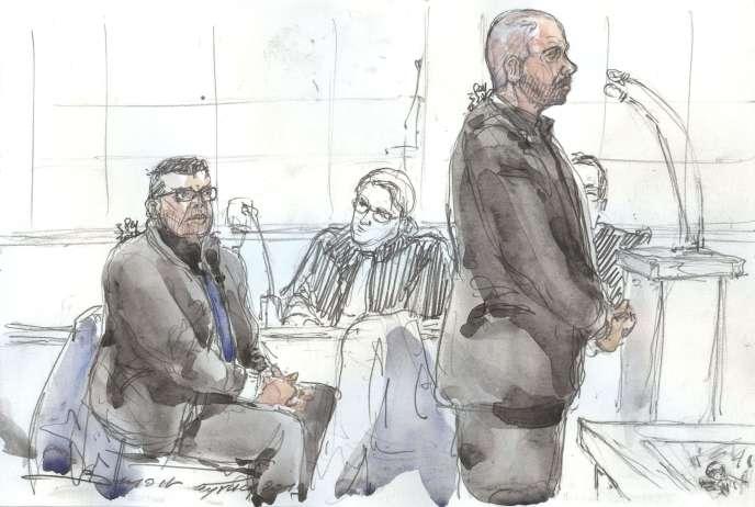 Croquis d'audience représentant les policiers Antoine Q. et NIcolas R. lors de leur comparution devant la cour d'assises de Paris, le 14 janvier.