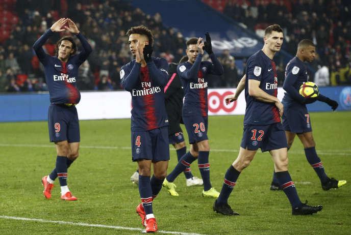 Des joueurs du PSG, le 19 janvier, lors de la victoire du club contre Guingamp (9-0).