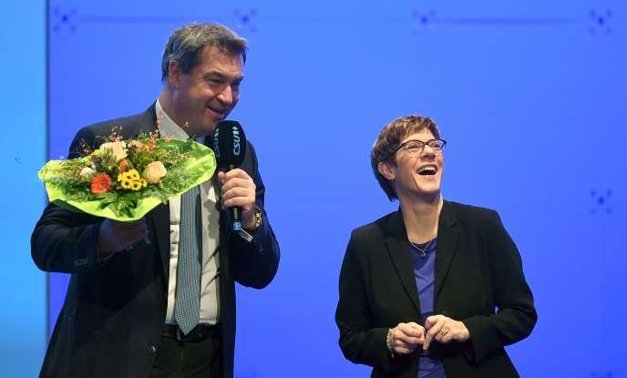 Markus Söder, le nouveau leader de la CSU, etAnnegret Kramp-Karrenbauer, qui dirige la CDU, à Munich, le 19 janvier.