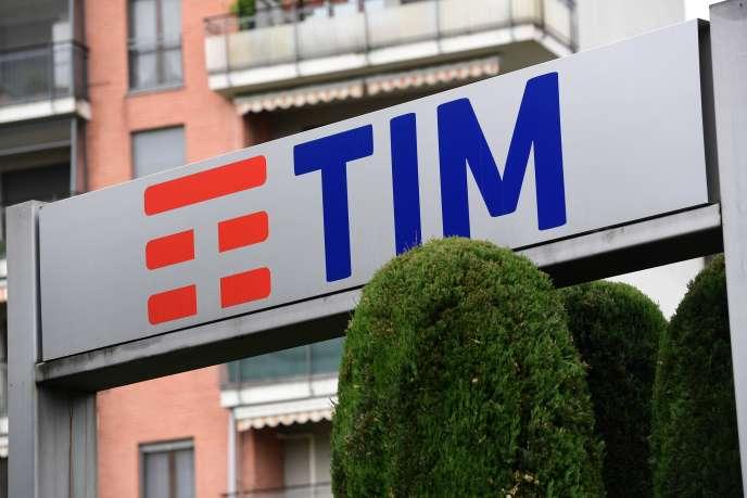The Telecom Italia logo, in Rozzano, near Milan, Italy, in May 2018.