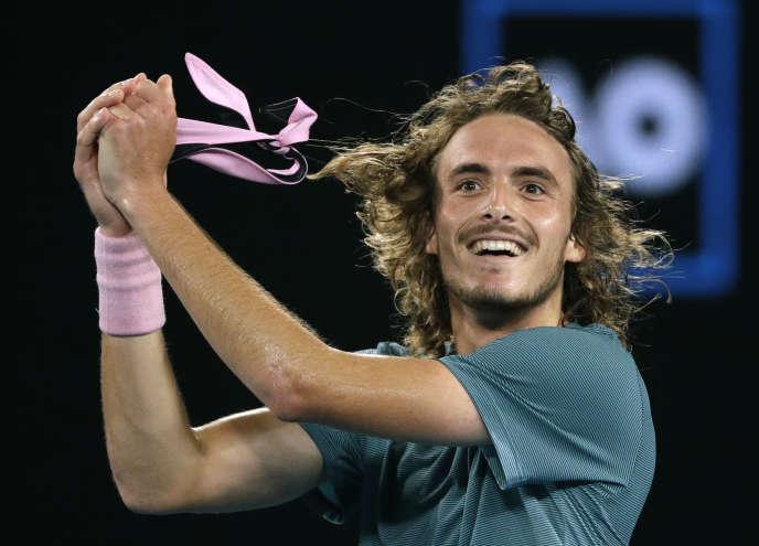 Stefanos Tsitsipas, après sa victoire contre Roger Federer dimanche 20 janvier à Melbourne.