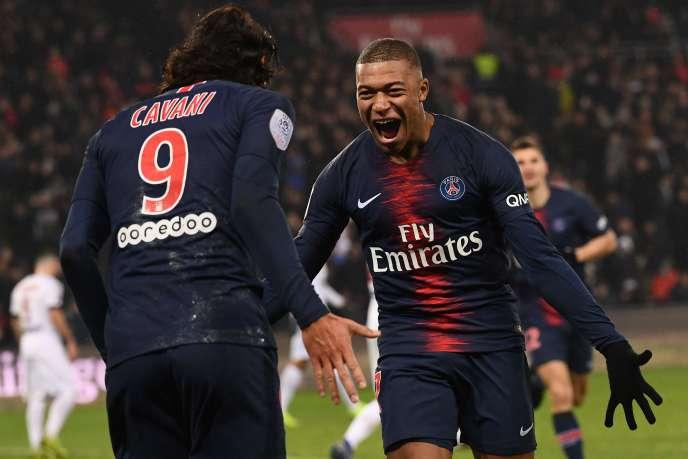 Edinson Cavani et Kylian Mbappé contre Guingamp (9-0), le 19 janvier 2019.