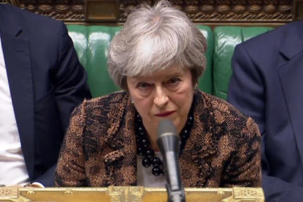 La première ministre britannique Theresa May devant le parlement, lundi 21 janvier 2019.