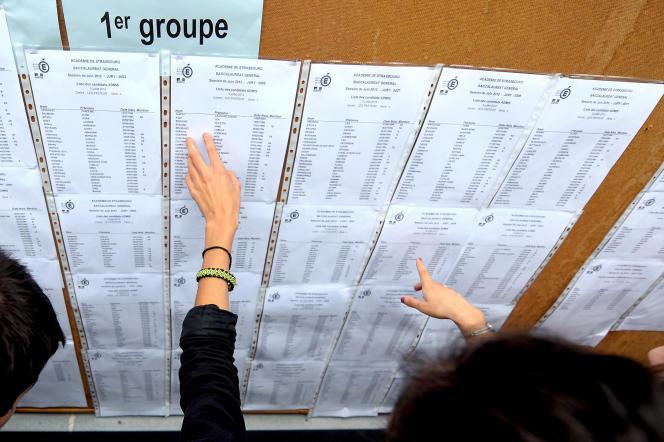 Des lycéens découvrent leurs résultats au baccalauréat, à Strasbourg, en 2012.