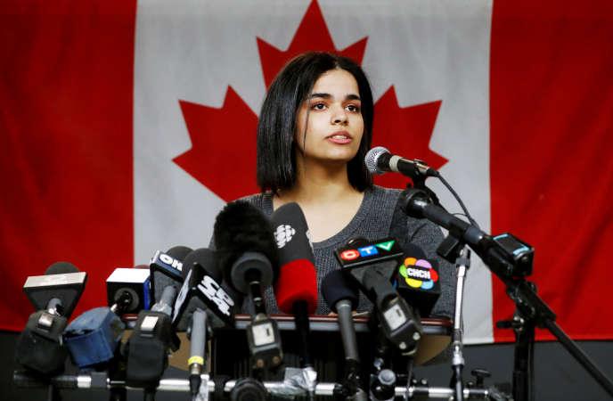 La jeune Saoudienne réfugiée au Canada, Rahaf Mohammed Al-Qunun, à Toronto, le15janvier.