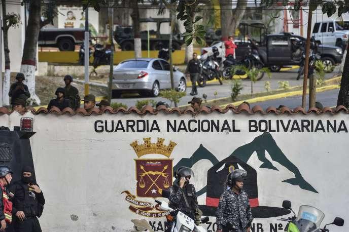 La caserne de la Garde nationale bolivarienne de Cotiza,dans le nord de Caracas (Venezuela), le 21 janvier 2018.