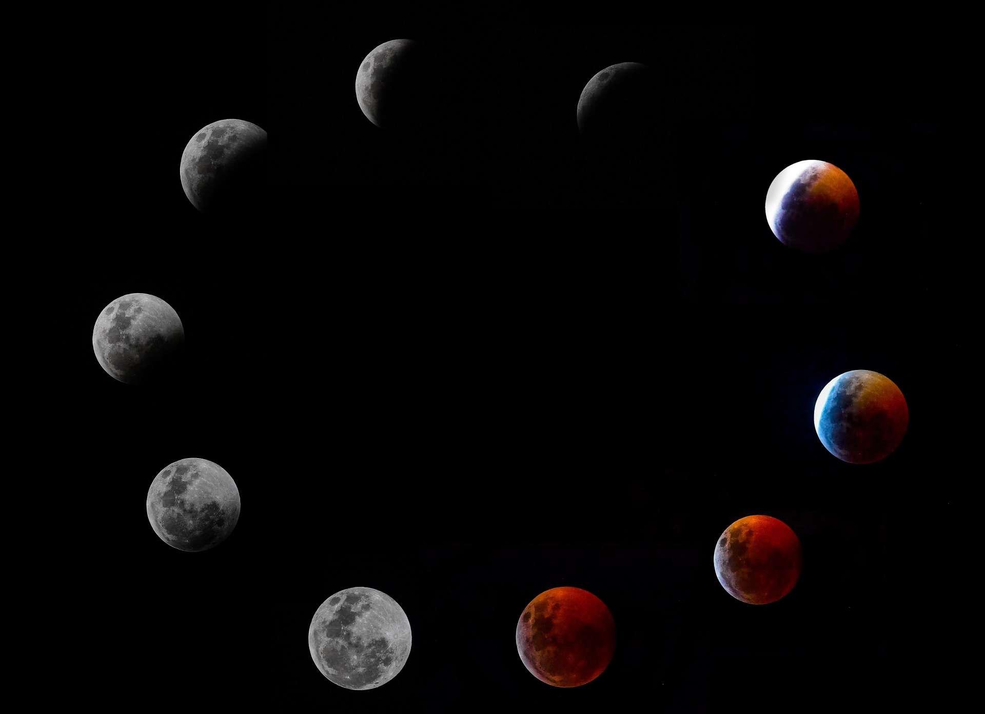 Les différentes phases de l'éclipse totale de la Lune, dans la nuit de dimanche à lundi.