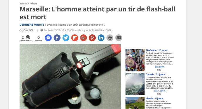 Un article évoquant un décès par tir de Flash-Ball à Marseille circule sur les réseaux sociaux. Il date de 2010.