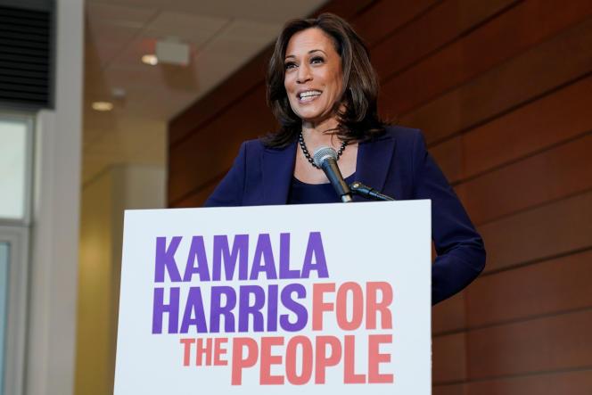La sénatrice américaine, Kamala Harris, lors de l'annonce de sa candidature à l'investiture démocrate, à Washington, le 21 janvier.
