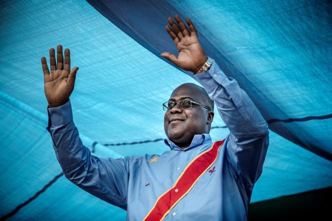 Félix Tshisekedi, vainqueur de la présidentielle congolaise, le 21 décembre 2018, lors d'un meeting de campagne à Kinshasa.