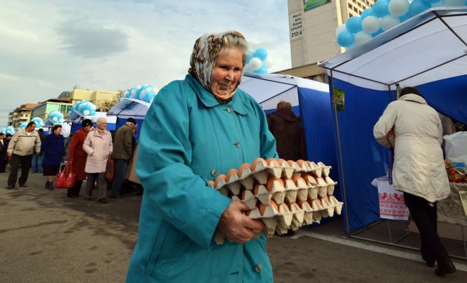 Sur un marché de Stavropol, dans le sud de la Russie, en décembre 2014.