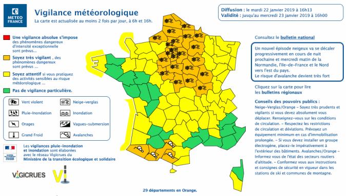 Carte de vigilance météorologique de Météo France le 22 janvier à 6 heures.
