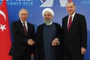 Vladimir Poutine, Recep Tayyip Erdogan et Hassan Rohani, en septembre 2018, à Téhéran.