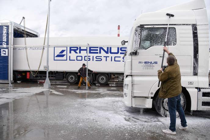 La station de lavage pour camions Rhenus, sur le Port du Rhin, à Strasbourg, en 2016.