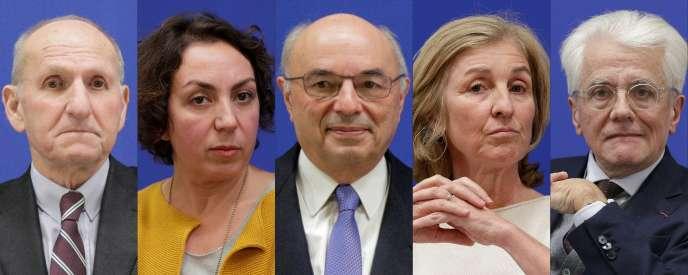 De gauche à droite, Guy Canivet, Nadia Belloui, Jean-Paul Bailly, Isabelle Falque-Pierrotin et Pascal Perrineau, les cinq garants du grand débat.