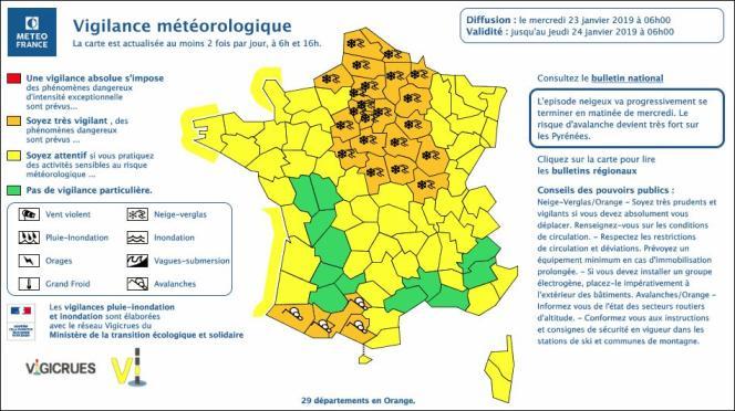 Carte de vigilance météorologique diffusée par Météo France, mercredi 23 janvier à 6 heures.