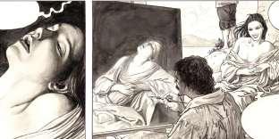 Planche du tome II de «Caravage», avec Marie-Madeleine en extase.