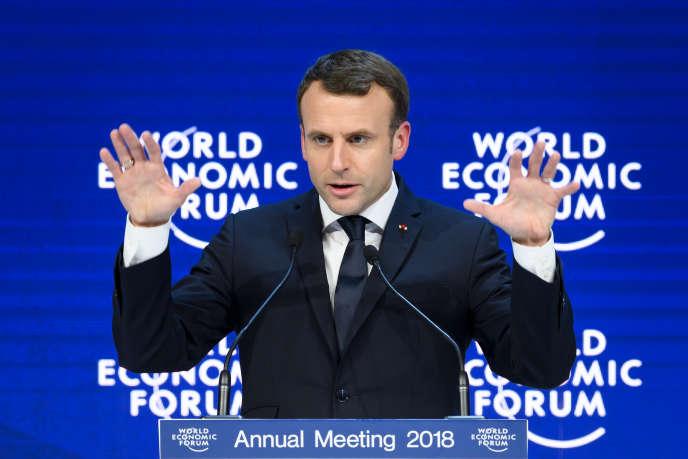 Le président français, Emmanuel Macron, au Forum économique mondial de Davos (Suisse), le 24 janvier 2018.