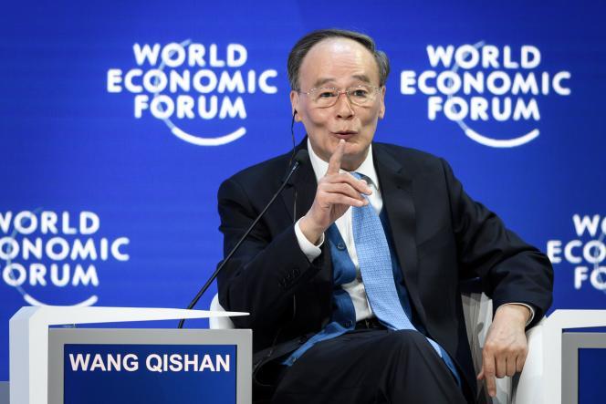 Le vice-président chinois, Wang Qishan, s'adresse aux participants du Forum économique mondial de Davos, le 23 janvier.