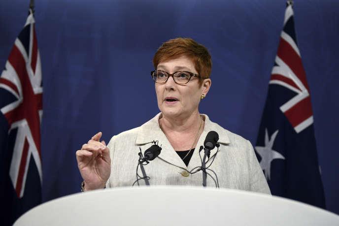 Marise Payne, lors d'une conférence de presse à Sydney, le 24 janvier.