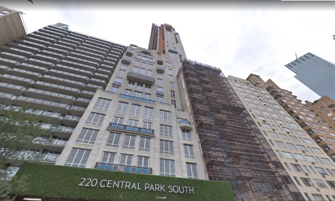 Le 220 Central Park South, à Manhattan, à New York.