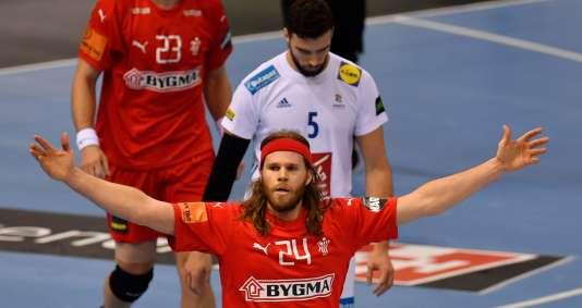La joie de Mikkel Hansen, bourreau des Bleus avec douze buts, après la qualification du Danemark en finale du Mondial.