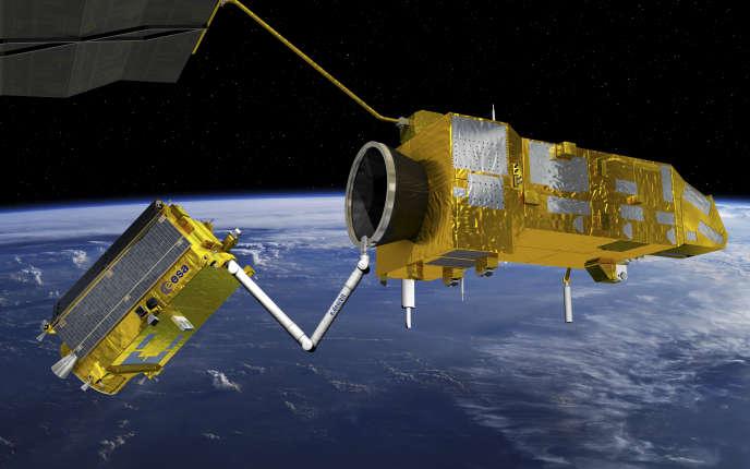 Vue d'artiste d'un remorqueur imaginé par l'ESA et destiné à désorbiter des satellites en fin de vie.